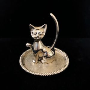 Other - Vintage Silver Kitty Cat Ring Holder
